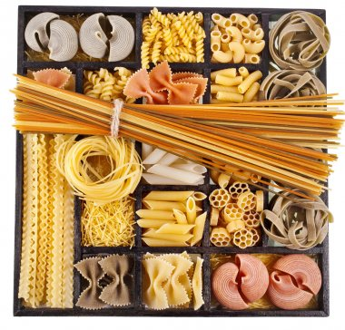 Italian pasta collection in wooden box background
