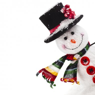 Cheerful Christmas snow man isolated on white background