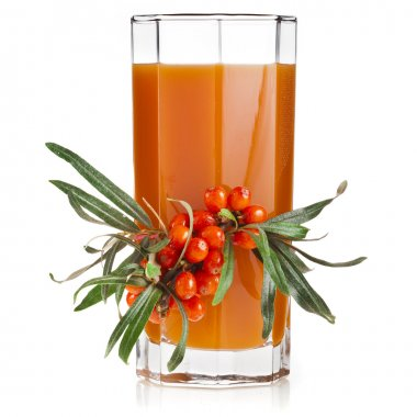 sea buckthorn berries juice on the glassful isolated on white background