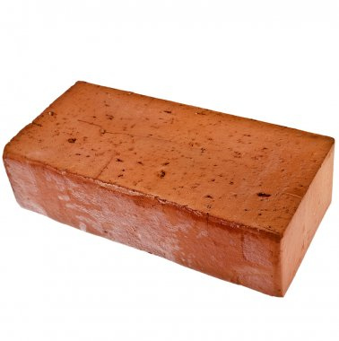 single red brick isolated on white background
