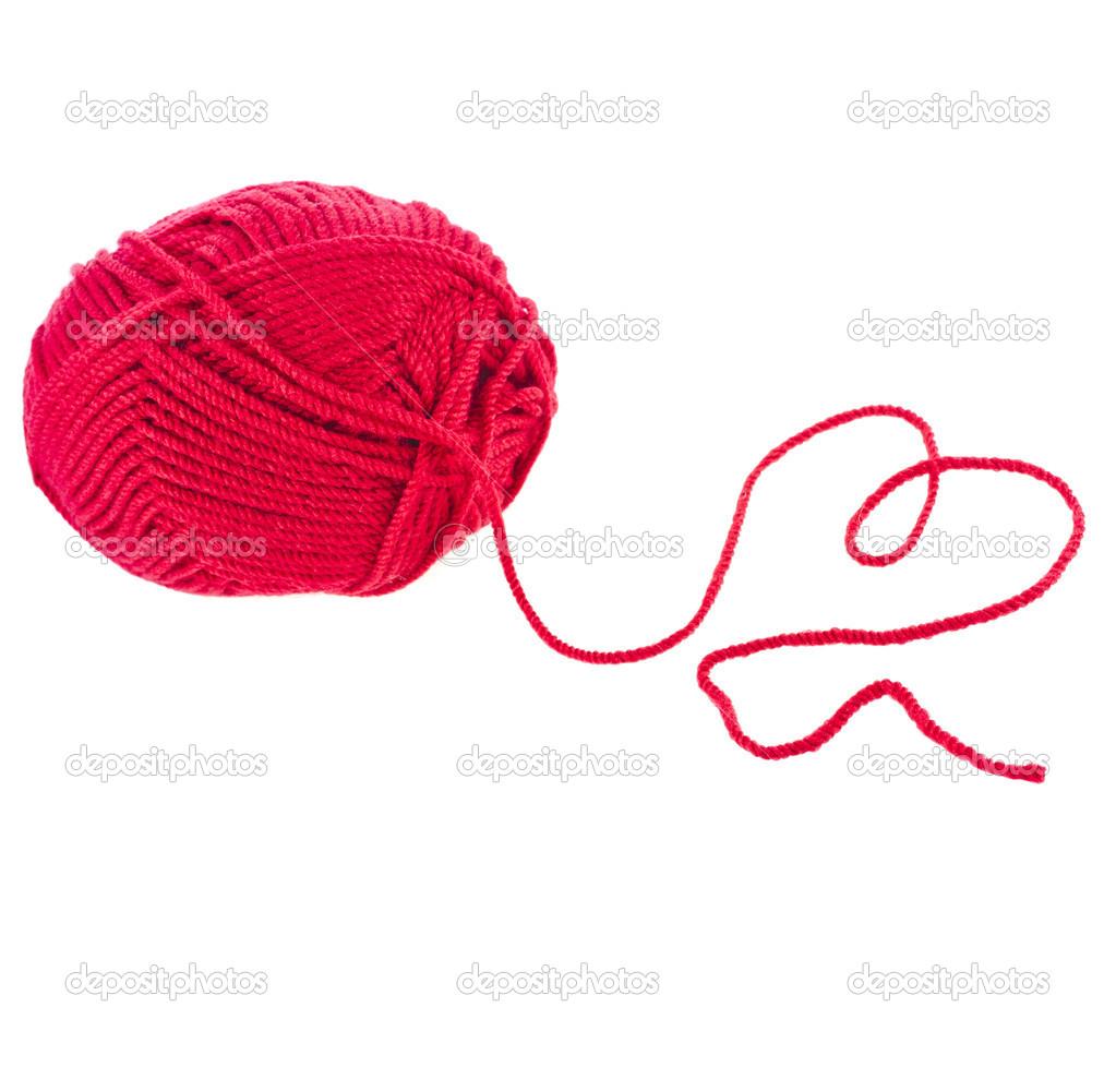 corazón de ingenio de hilo hilo rojo firmar aisladas sobre fondo ...