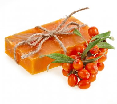 soap with sea-buckthorn oil isolated on white
