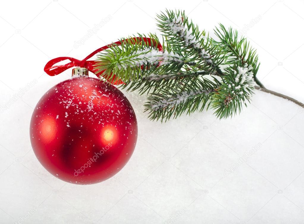 rote weihnachts kugel mit tanne zweig stockfoto. Black Bedroom Furniture Sets. Home Design Ideas