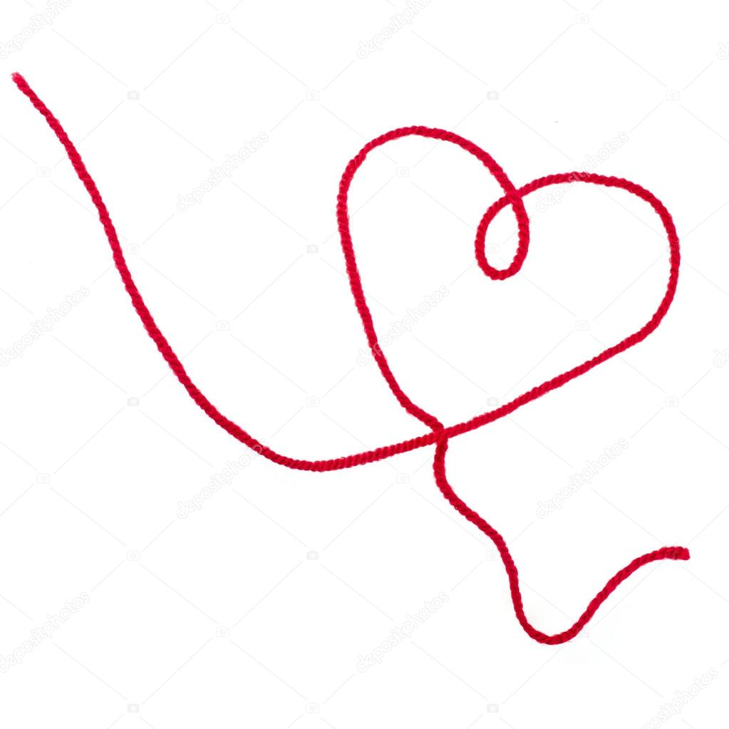 corazón de ingenio hilo rojo firmar aisladas sobre fondo blanco ...