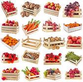 čerstvé chutné ovoce, zelenina, plody a ořechy v dřevěné bedně pole, kolekce sada izolovaných na bílém pozadí