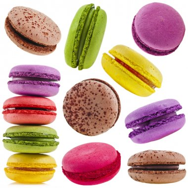 collection set of Colorful assorted macaroons isolation on a white background