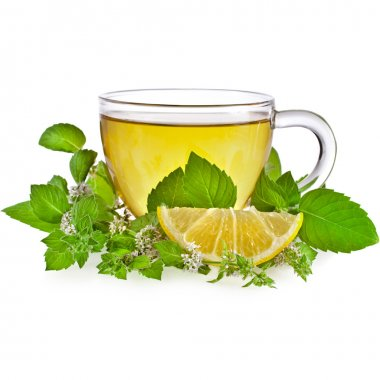 Tea cup with mint leaves isolated on a white background