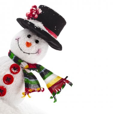 Cheerful Christmas snowman close up with scarf, Border Card with copy space, isolated on white background