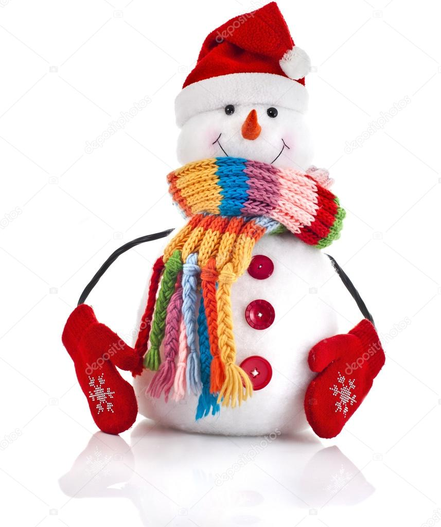 christmas snowman with colorful striped scarf and santa claus hat
