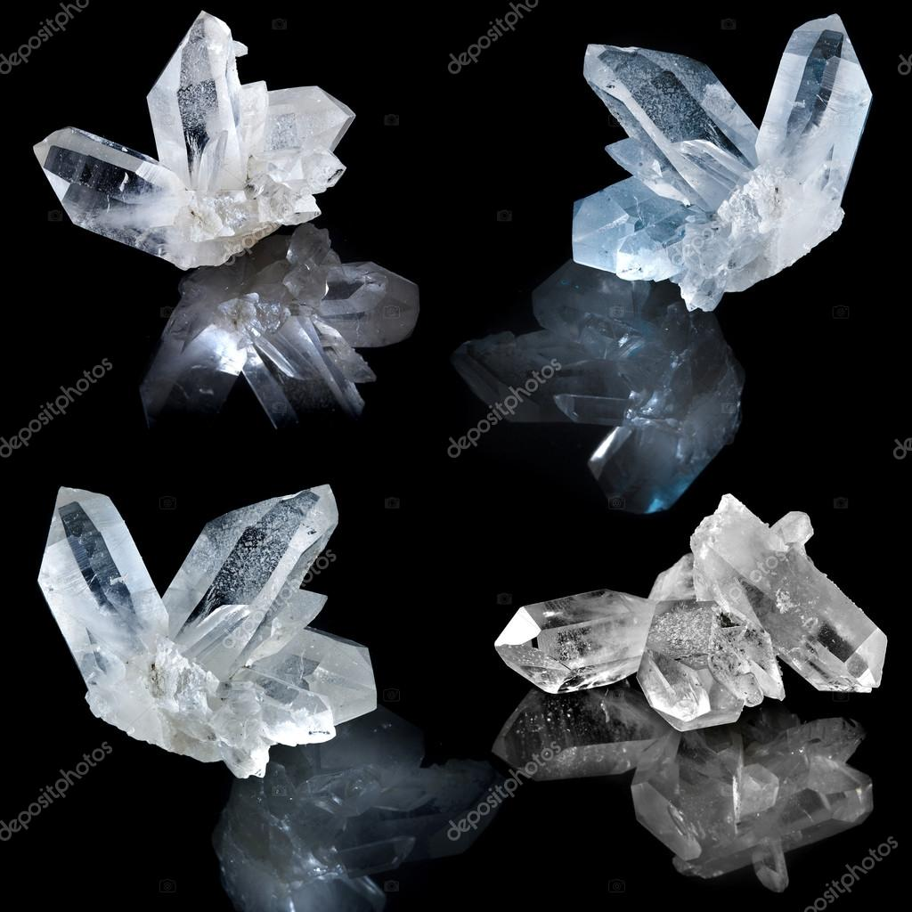 Collection of white natural rock crystal