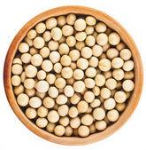 Sójové boby dřevěné misky jídlo pohled shora povrchu zblízka