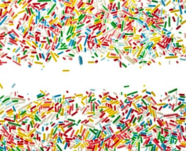 Border frame of colorful candy sprinkles isolated on white background card for text