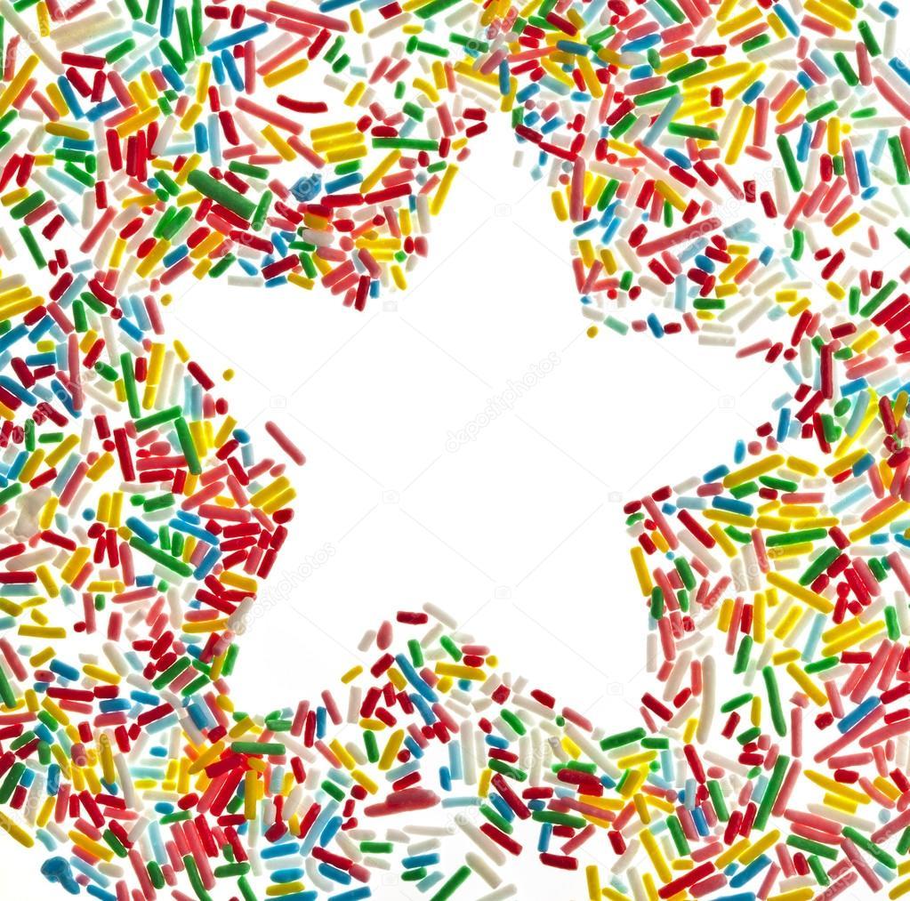 estrella marco frontera de confites coloridos vista superior cerrar ...