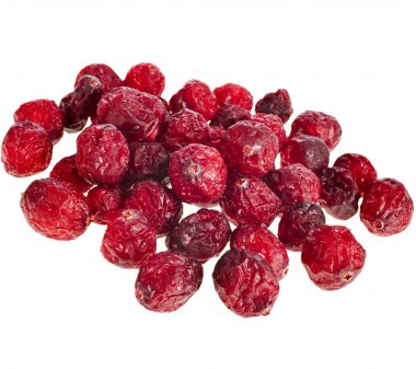 Dried cranberries heap pile isolated on white background