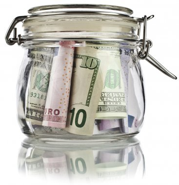 Money jar full of savings