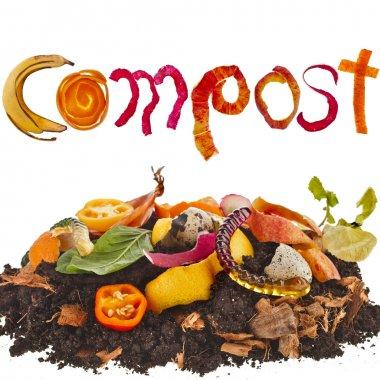 Compost pile soil of kitchen scraps