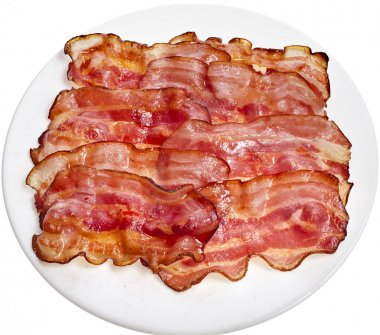 Bacon Fried Slices in Plate top view surface isolated On White Background stock vector