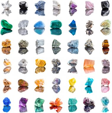Collection set of semi-precious gemstones stones and minerals