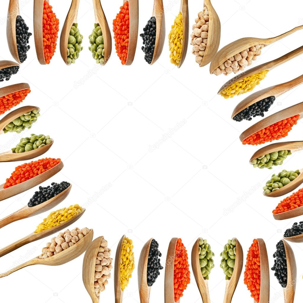 Rahmen der Hülsenfrüchte, Erbsen, Bohnen, Linsen — Stockfoto ...