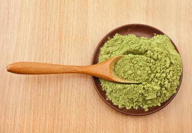 Powdered Green Tea Matcha in spoon