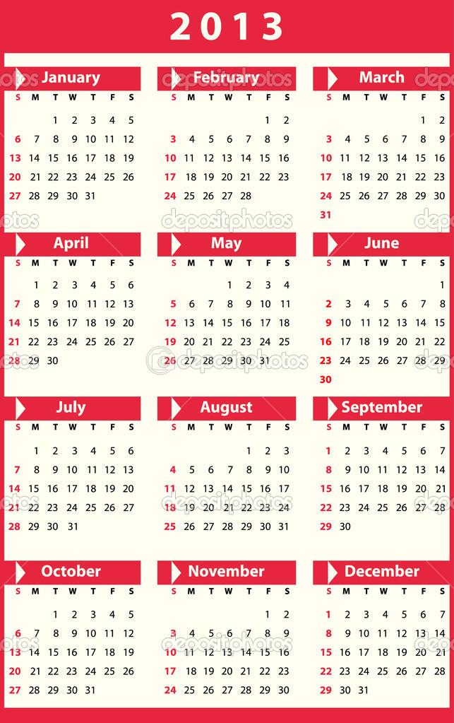 2o13 naptár naptár 2013 — Stock Vektor © Olivi #14332835 2o13 naptár