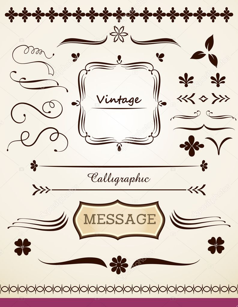Calligraphic and vintage page decoration stock vector for Decoration page