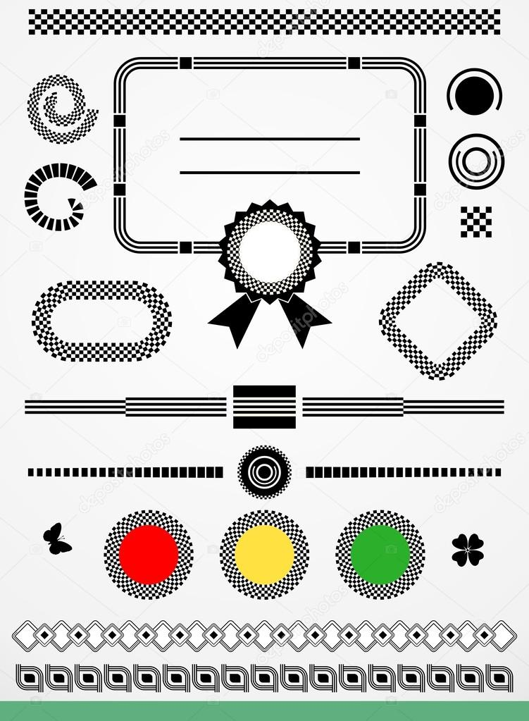 Page decorations, frame, borders and dividers, black and white