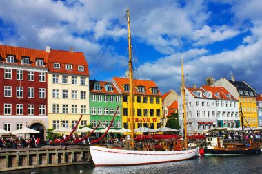 Seafront Nyhavn in the old center of Copenhagen, Norway stock vector