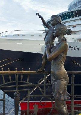 Monument of sailor's wife in port Odessa, Ukraine.