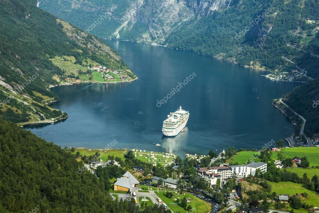 Cruise ship in Geirangerfjord