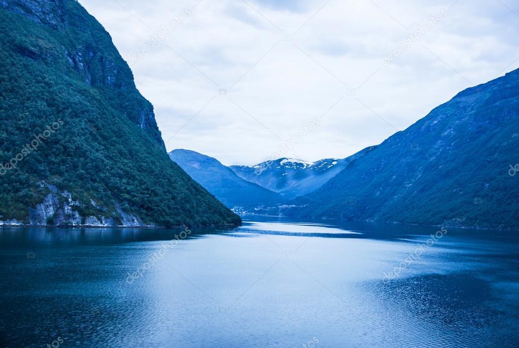 Sea view on mountains, Norway.