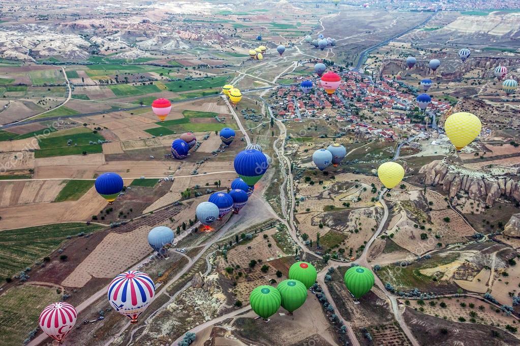 kappadókia térkép lufi, goreme, cappadocia, Törökország Térkép — Stock Fotó © Vlada