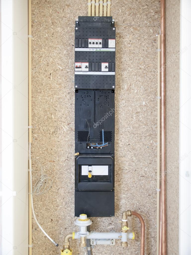 Home Circuit Breaker Fuse Box Meter In A House Under Construction Stock Photo Kees59
