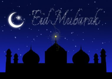 Eid Mubarak Blue Night Greeting