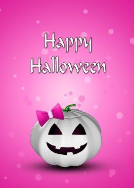 Girly Pumpkin Halloween Illustration