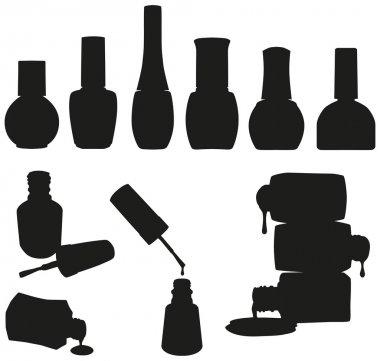 Set of Vector Nail Polish Bottles