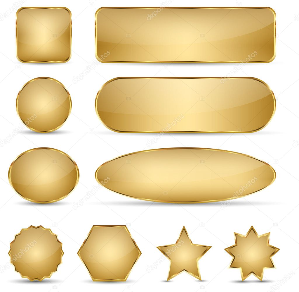 Blank Elegant Golden Buttons