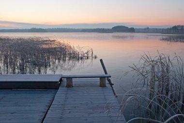 Sunrise over the lake in Masuria