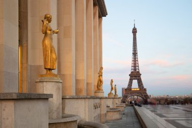 Paris, Sculptures on Trocadero with Eiffel Tower view, France, E