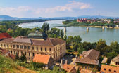 Photo View of an Esztergom in Hungary and Sturovo in Slovakia with Maria Valeria Bridge between.