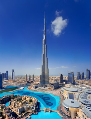 A skyline of Downtown Dubai with the Burj Khalifa and Dubai Mall