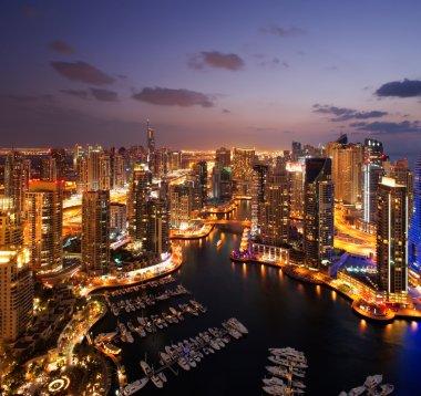 "Картина, постер, плакат, фотообои ""вид гавани Дубая, в сумерках, также показаны jbh"", артикул 13728539"