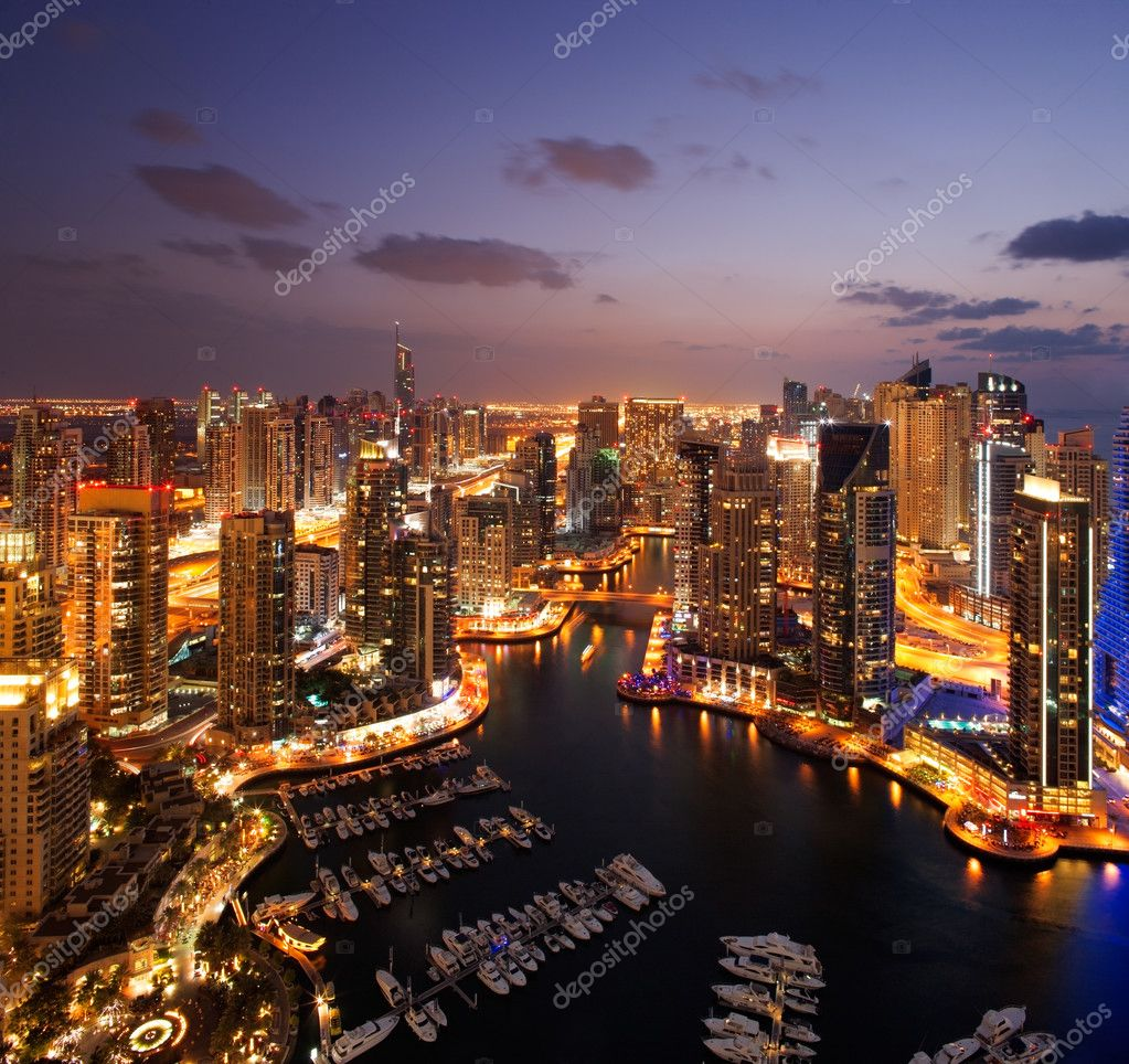 Фотообои A view of Dubai Marina, at Dusk, also showing JBH