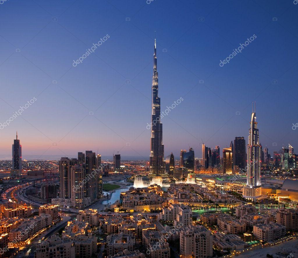A skyline of Downtown Dubai with Burj Khalifa and Dubai Fountain
