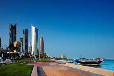 Doha's Corniche in West Bay is a popular exercise location