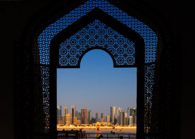 West Bay City skyline as viewed from The Grand Mosque Doha, Qatar