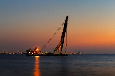 A big rig is anchored off the Dubai, UAE coast