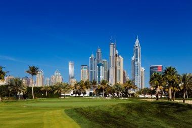A cityscape view of Dubai Marina in United Arab Emirates