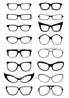 A great collection of many styles of glasses and sunglasses shapes stock vector
