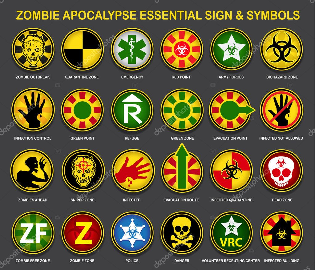 Zombie apocalypse essential signs symbols stock vector a complete an useful collection of all necessary signs and symbols for the zombie apocalypse vector by renomartin biocorpaavc Image collections
